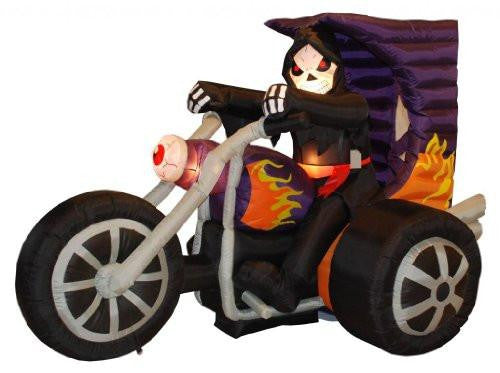 7 Foot Long Halloween Inflatable Grim Reaper on Motorcycle Yard Decoration