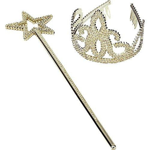 Gold Tiara and Star Wand Set