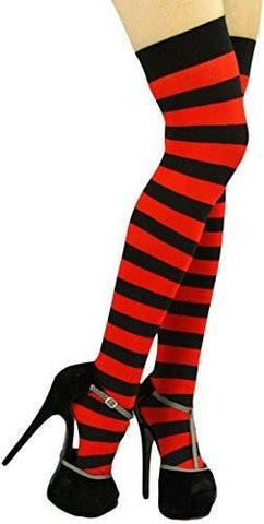 Women's Adult Stripe Over Knee Sock Opaque Two Tone Thigh Hi Hosiery, 4 Colors
