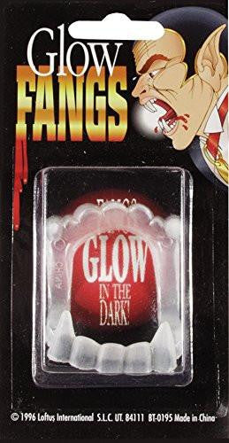 Glow in the Dark Vampire Fangs, White, One-Size