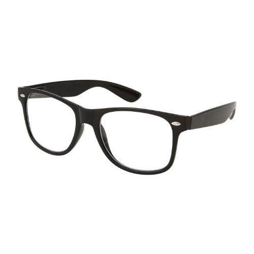 Mens RETRO NERD Geek versized black framed glasses