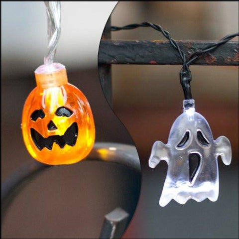 Set of 2 Halloween Themed Battery Operated String Lights with 10 LEDs - Ghost and Pumpkin