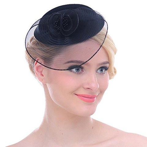 Women Vintage Mesh Net Wool Felt Flower Hat Hair Clip, 6 Colors