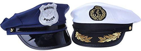 Police And Sea Captain Hat Costume Accessory Halloween - 2 Pc Set