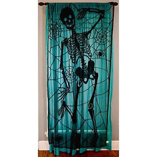 Black Skeleton Halloween Lace Window Curtain - 36 Inches X 84 Inches