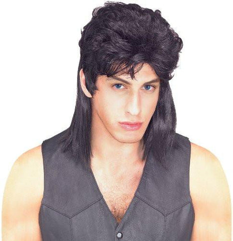 Black Mullet Shoulder Length Wig, Black, One Size