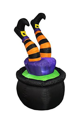 Image of 4 Foot Tall Halloween Inflatable Witch Legs in Pot Decoration