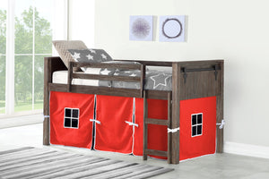 WEEKLY or MONTLY. Low Loft Bunk Bed Brushed Shadow with Red Tent