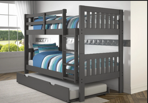 WEEKLY or MONTHLY. Twin over Twin Dark Grey Mission Bunkbed
