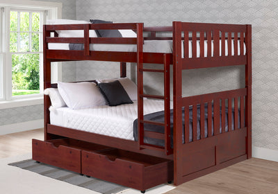 WEEKLY or MONTHLY. Full/Full Merlot Finish  Mission Bunkbed