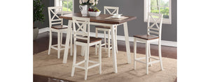 WEEKLY or MONTHLY. Amelia White Chestnut Pub Table & 4 Pub Chairs