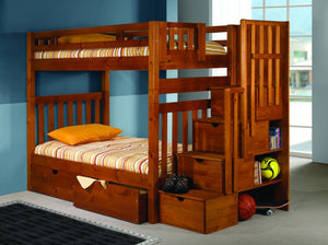 "WEEKLY or MONTHLY. Tall Twin/Twin Mission Stairway Bunkbed 67"" With Staircase Storage Under Each Step"