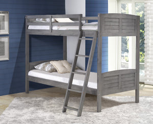 WEEKLY or MONTHLY. Antique Grey Twin over Twin Louver Bunkbed