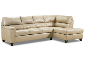 WEEKLY or MONTHLY. Soft Touch Genuine Leather Sectional in Putty