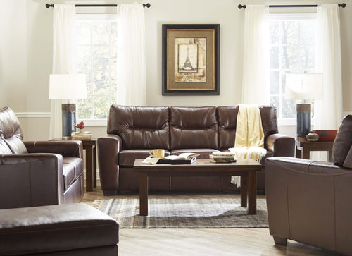 WEEKLY or MONTHLY. Chestnut Genuine Leather Couch Set
