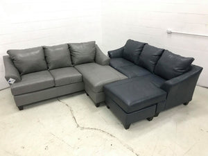 WEEKLY or MONTHLY. Soft Touch Genuine Leather in Silver Couch Set