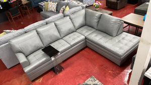 WEEKLY or MONTHLY. Silver Dream Genuine Leather Sectional