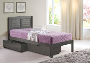 WEEKLY or MONTHLY. Twin Louver Bed in Antique Grey