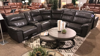 WEEKLY or  MONTHLY. Martins Leather Power 6-PC Sectional