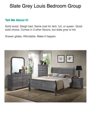 12-WEEK SPLIT PAY. Slate Grey Louis Bedroom Set