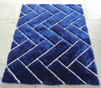 Zigzag Shaggy Cobalt with Fine Lines Area Rug