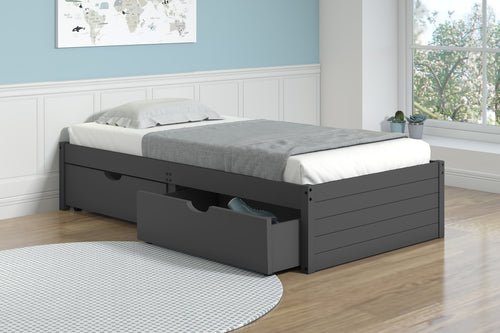 WEEKLY or MONTHLY. Dark Grey Twin Bed with Under-Bed Drawers