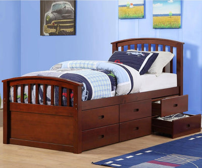 WEEKLY or MONTHLY. 6-Drawer Twin  Captain Storage Bed in Cappuccino