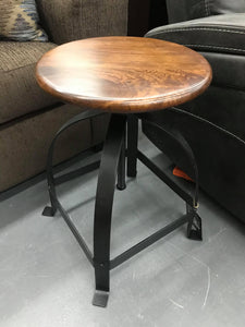 Rustic Walnut Top Adjustable Stool