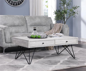 WEEKLY or MONTHLY. Aspen Court White Rub Coffee Table Collection