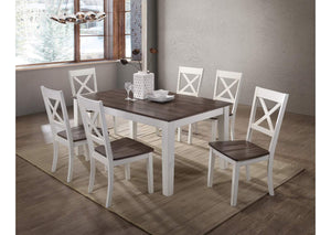 WEEKLY or MONTHLY.  A La Carte White Rectangular Dining Table and 6 Chairs