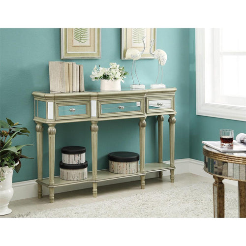 WEEKLY or MONTHLY. Golden Reflection 3-Drawer Console