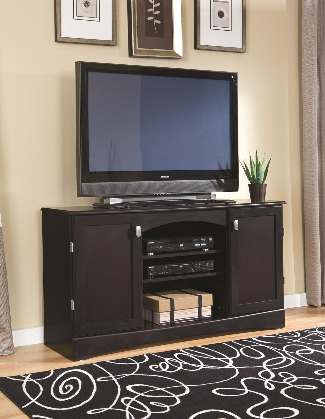 Deep Brown Mahogany TV Console