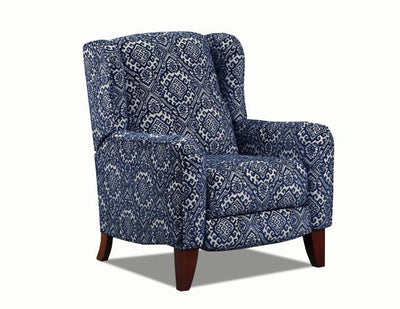 WEEKLY or MONTHLY. Anne of Ava High Leg Recliner in Navy Blue