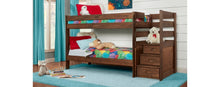 WEEKLY or MONTHLY. Twin over Twin Safety Stairs Chestnut Bunk