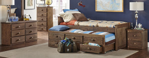 WEEKLY or MONTHLY. Twin Chestnut Captains Bed