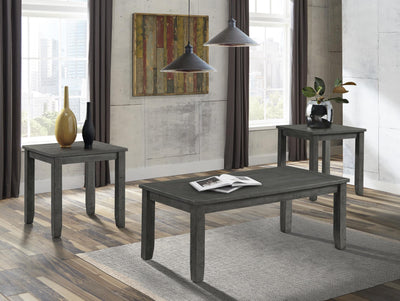 WEEKLY or MONTHLY.  Distressed Grey Cocktail Table & 2 End Tables