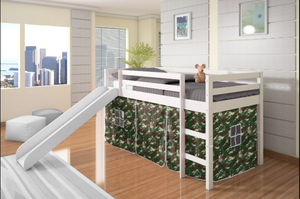 WEEKLY or MONTHLY. Twin Low Loft Bed with Slide and Camo Tent