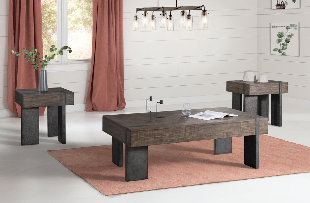 WEEKLY or MONTHLY. Rustic Wood Cocktail Table & 2 End Tables