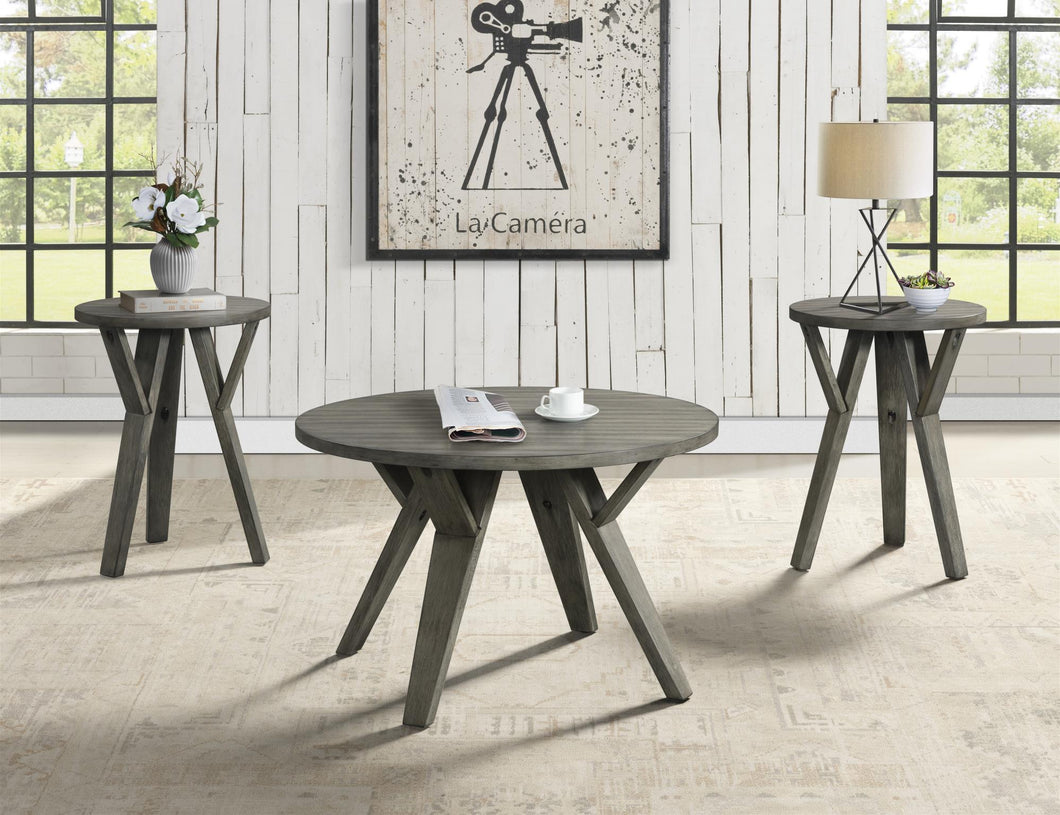 Round Rustic Coffee Table & 2 End Tables