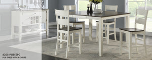WEEKLY or MONTHLY. Grey and White Dining Table + 4 Chairs