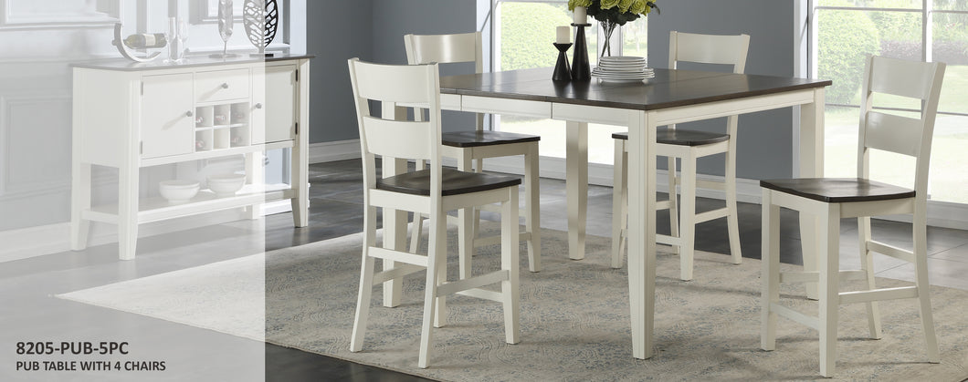 WEEKLY or MONTHLY. Grey and White Pub Table + 4 Chairs