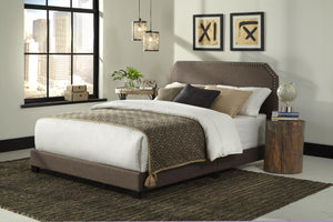 WEEKLY or MONTHLY. Gray Nailhead Trim Queen Bed