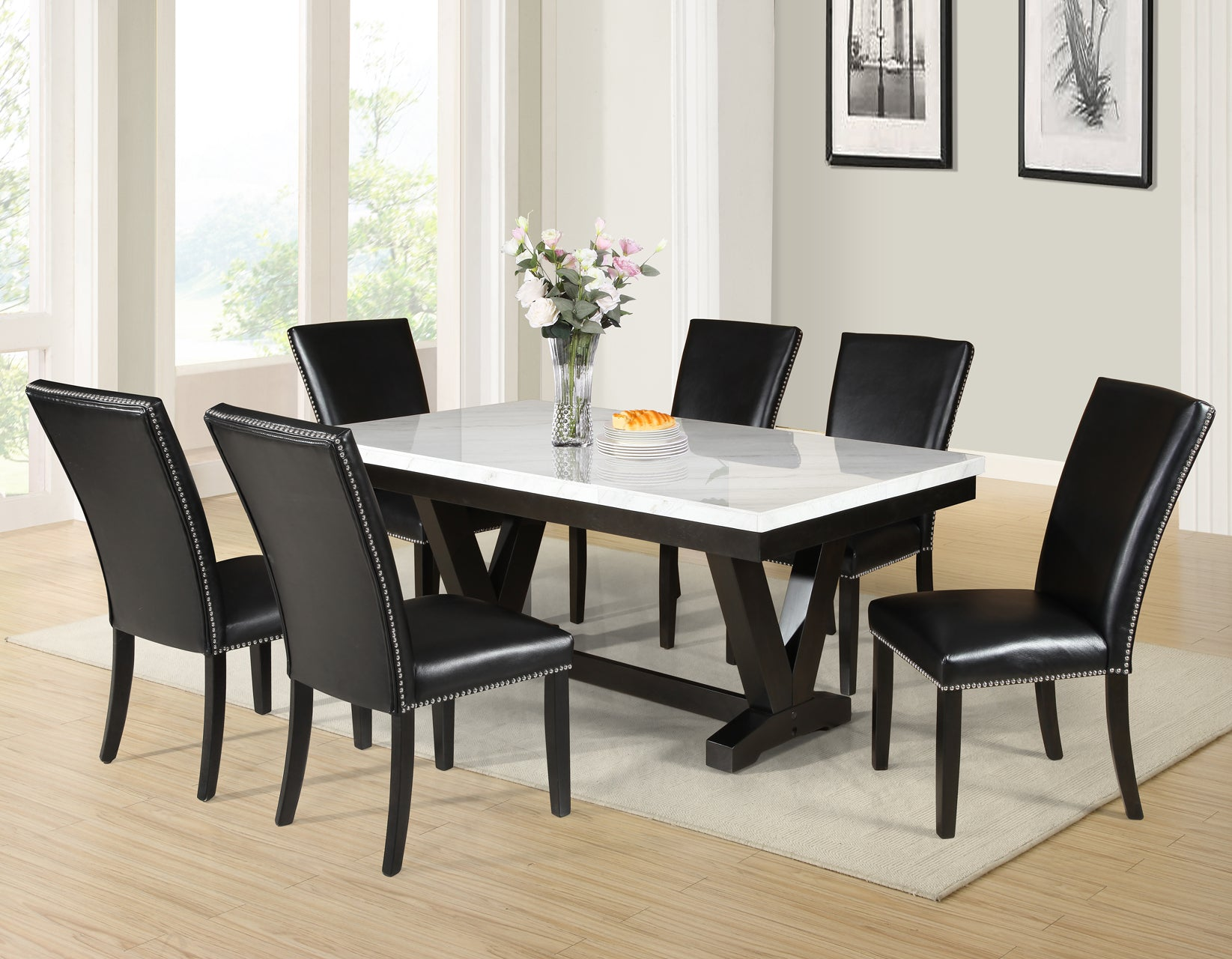 WEEKLY or MONTHLY. Fine Finley Marble Top Dining Table + 4 Chairs