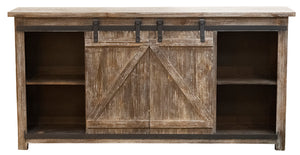 "WEEKLY or MONTHLY. Barnwood 60""TV Console with Sliding Barn Door"