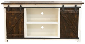 "WEEKLY or MONTHLY. Rodeo White 70""TV Console with Sliding Barn Door"