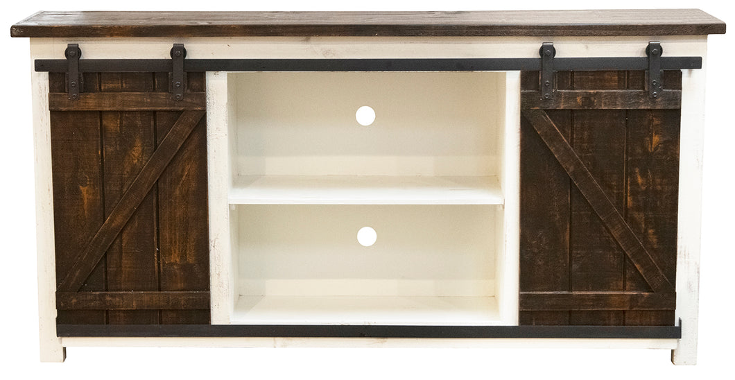 WEEKLY or MONTHLY. Rodeo White Console with Sliding Barn Door