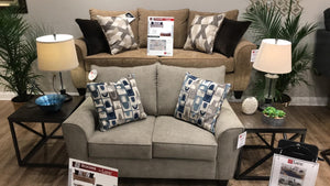 WEEKLY or MONTHLY. Reed Tan Couch Set