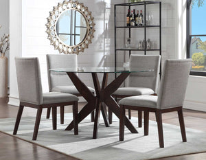 WEEKLY or MONTHLY. Amalie Camel Linen Glass Top Dining & 4 Chairs