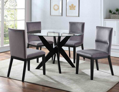 WEEKLY or MONTHLY. Amalia Grey Velvet Glass Table & 4 Side Chairs