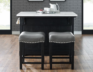 WEEKLY or MONTHLY. Aspen Marble Top Kitchen Island & 2 Stools